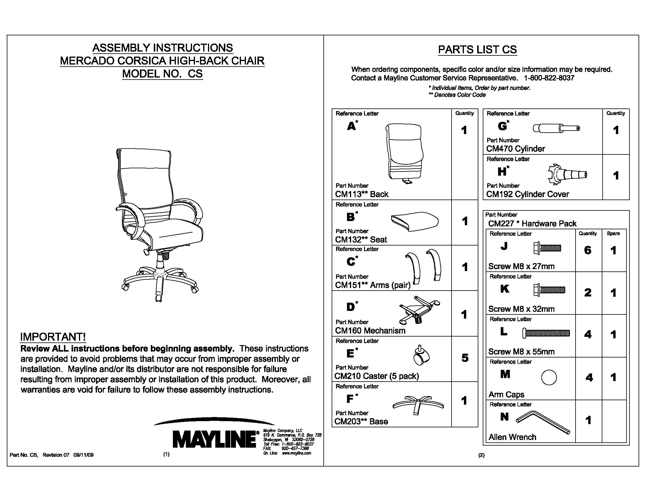 Corsica Chair Assembly Instructions - CS   Safco Products